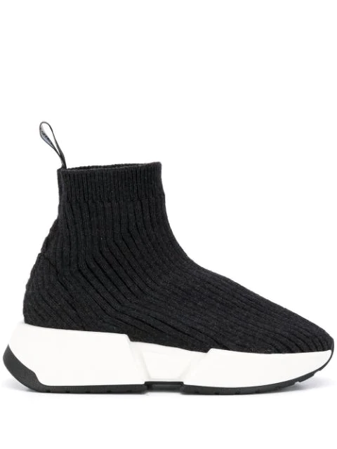 Mm6 Maison Margiela Lace-up Runner Sneakers In Grey