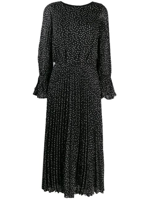 Emporio Armani Polka-dot Fil Coupé Dress In Black