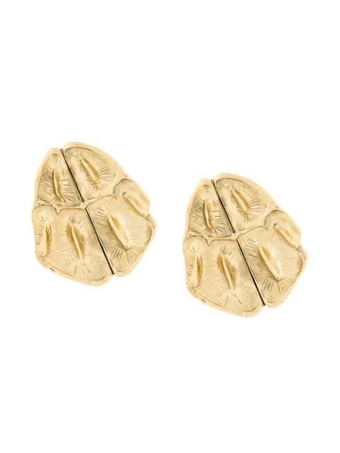 Saint Laurent Opyum Crocodile-effect Clip-on Earrings In Metallic