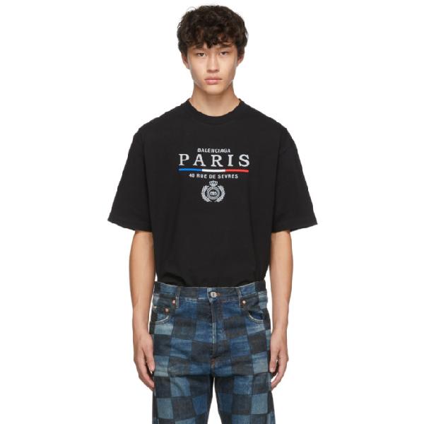 Balenciaga Logo Flag Embroidered Cotton T-shirt In Black