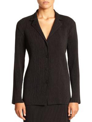 Issey Miyake Pleated Crepe Jacket In Black