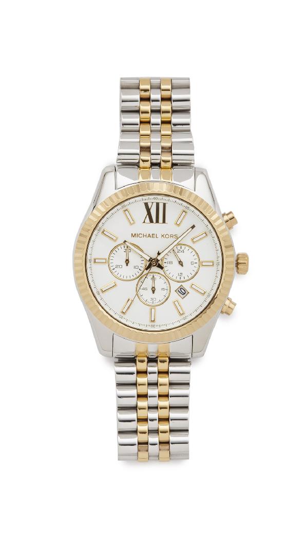 Michael Kors Lexington Chronograph Watch In Gold