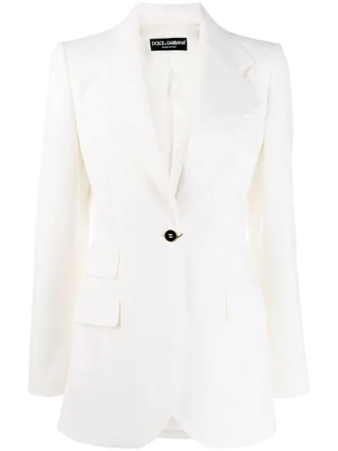 Dolce & Gabbana Fitted Single-button Blazer In Bianco