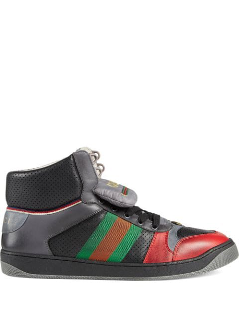 Gucci Screener Webbing-Trimmed Distressed Leather High-Top Sneakers In Black
