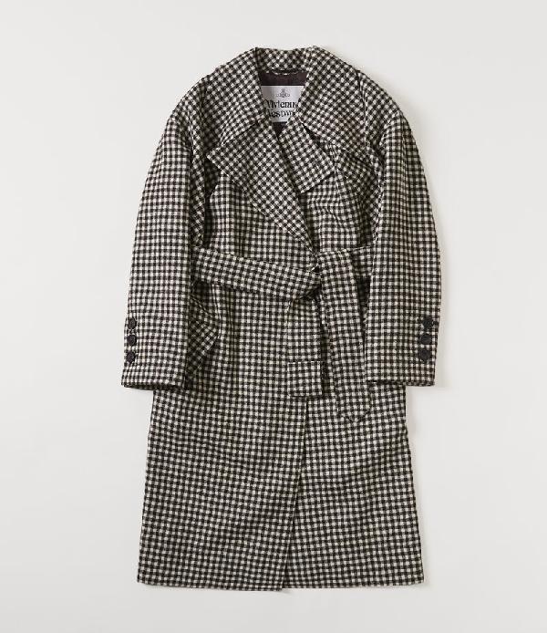 Vivienne Westwood Wilma Belted Gingham Wool Coat In Black