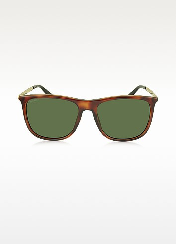 Gucci Gg 1129/s Qwp1e Havana Acetate Square Frame Men's Sunglasses In Green