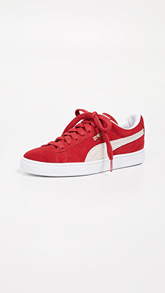 Puma Classic Low-Top Suede Basket Sneakers In High Risk Red/White
