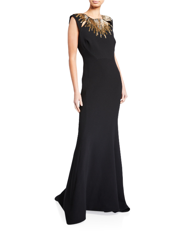 Zac Posen Embroidered-Neck Sleeveless Gown In Black/Gold