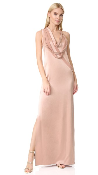 Halston Heritage Sleeveless Slip Gown With Draped Strips In Almond