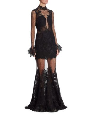 Jonathan Simkhai Mockneck Lace Gown In Black