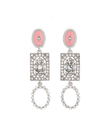 Oscar De La Renta Triple-Drop Clip-On Earrings In Silver