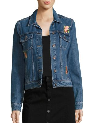 Paige Rowan Embroidered Denim Jacket In Rosemont Patch