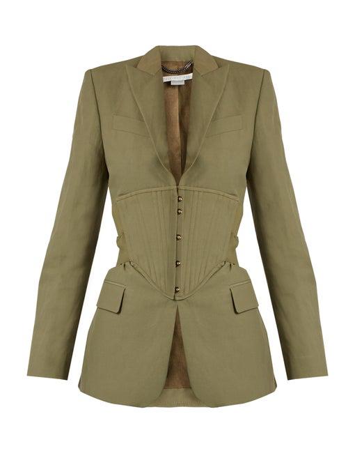 Stella Mccartney Peak-lapel Corset-panel Jacket In Khaki