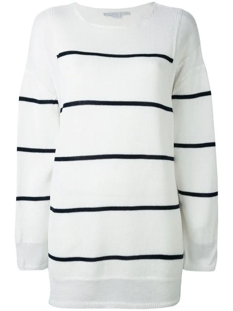 Stella Mccartney Deconstructed Striped Sweater In White