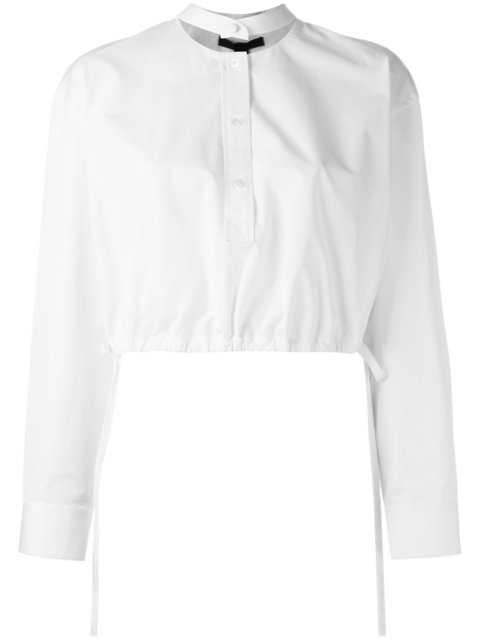 Alexander Wang Cropped Button Front Top In White