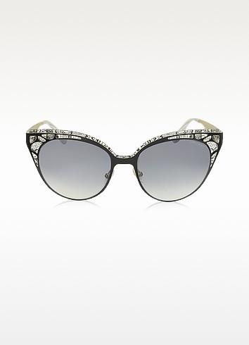 Jimmy Choo Estelle/s Enylf Black Metal Lace Cat Eye Sunglasses In Black/shaded Smoke