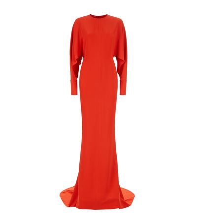Stella Mccartney Clarissa Batwing Long Sleeve Gown In Lipstick