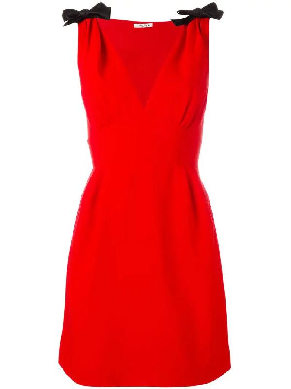 Miu Miu Deep V-neck Sleeveless Cady Mini Dress In Red