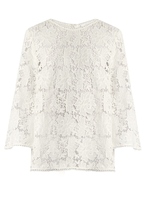 Zimmermann Aerial Guipure-lace Top In Ivory