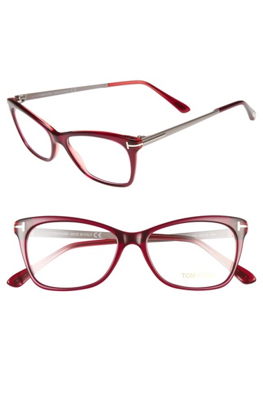 Tom Ford 52mm Cat Eye Optical Glasses - Shiny Fuchsia
