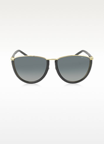 Jimmy Choo Mila/s Wl4hd Gold And Black Women's Sunglasses In Black/gradient Grey