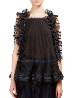 ChloÉ Ruffled Pleated Silk-organza Top In Blue-black