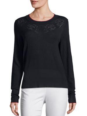 Rag & Bone Adriana Pointelle-knit Pullover In Navy