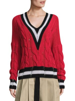 Rag & Bone Emma Cable-knit Sweater In Red