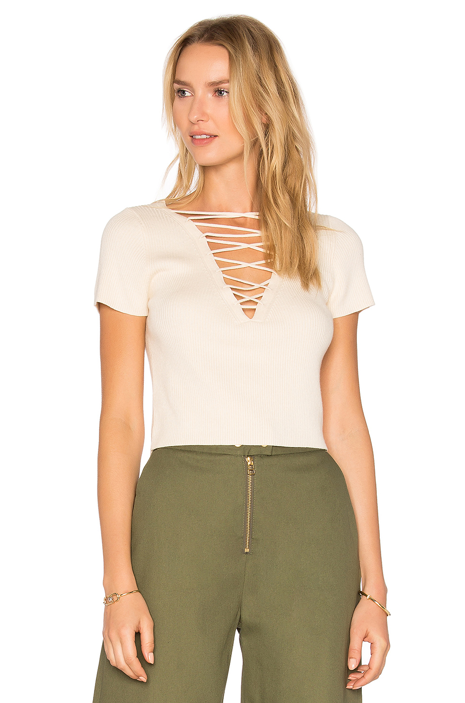 Alexander Wang T Cotton Cashmere Lace Up Short Sleeve Pullover In Neutrals. In Almond