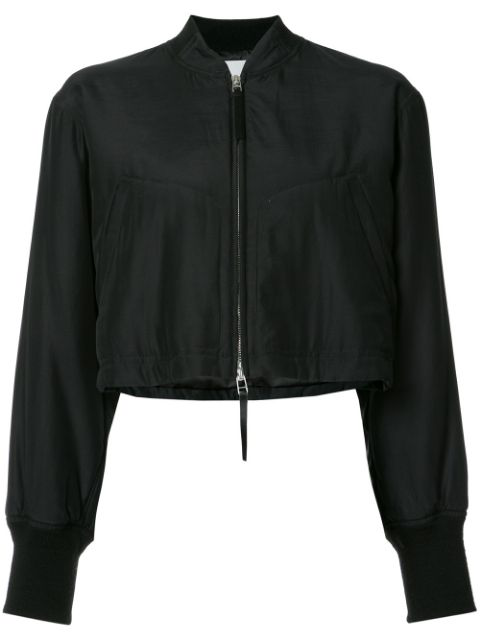 Alexander Wang T Cropped Bomber Jacket In Black