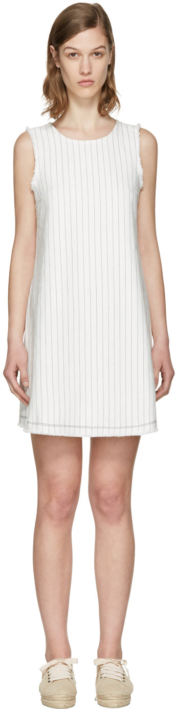 Alexander Wang T Frayed Pinstriped Cotton-burlap Mini Dress In Navy With White Stripes