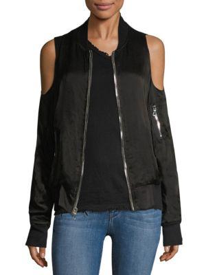Rta Jester Cold Shoulder Silk Bomber Jacket In Noir