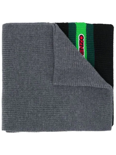 Kenzo Logo Patch Knitted Scarf In Grey