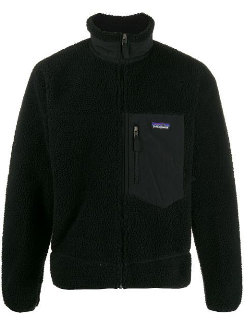 Patagonia Short Fleece Bomber Jacket In Black