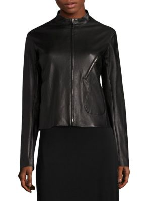 The Row Tripton Leather Jacket In Black