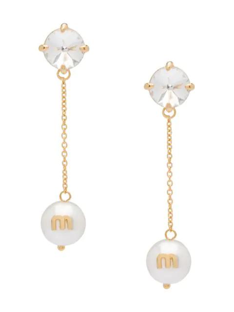 Miu Miu Solitaire Jewels Earrings In F0zjk Gold + White + Crystal
