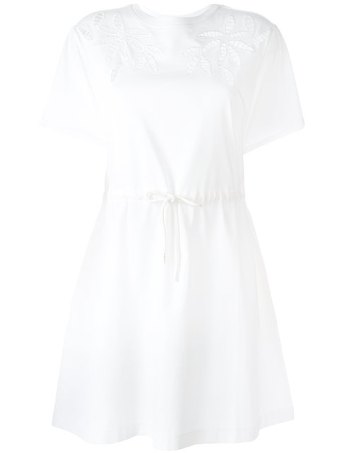 See By ChloÉ Lace Inset Cotton T-shirt Dress In White