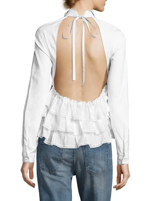 Sandy Liang Fawn Open-back Ruffle Top In White