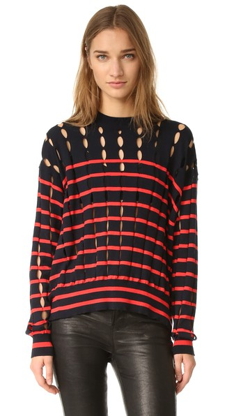 T By Alexander Wang Striped Cotton Pullover With Slits In Navy & Lipstick