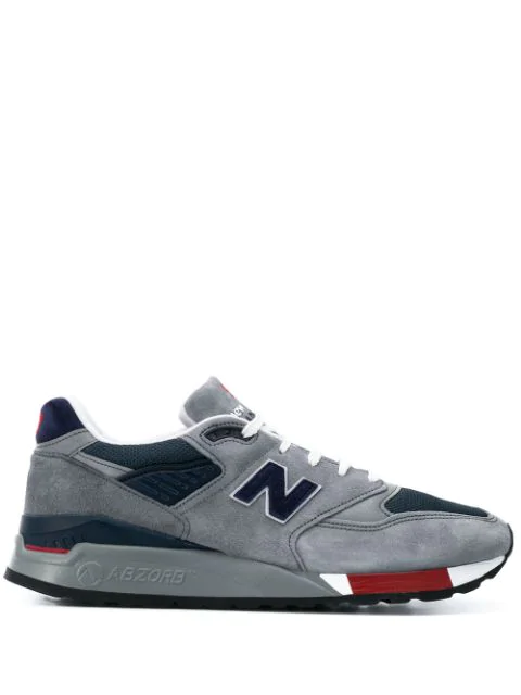 New Balance Logo Patch Low Top Sneakers In Grey
