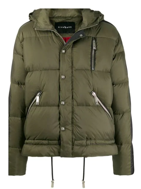 John Richmond Padded Jacket In Green