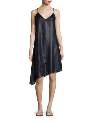 Atm Anthony Thomas Melillo Lacquered Asymmetrical Hem Slip Dress In Midnight