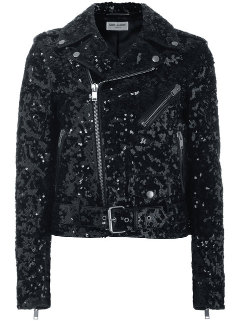 Saint Laurent Leather And Sequins Jacket In Black