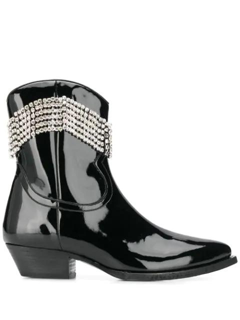 Chiara Ferragni Crystal Embellished Boots In 001 Black