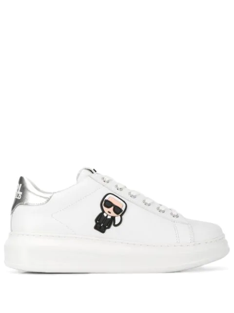 Karl Lagerfeld Women's Shoes Leather Trainers Sneakers K/ikonik Kapri In White