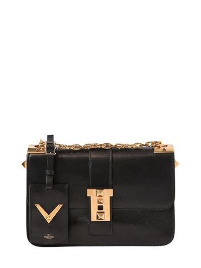 Valentino B-Rockstud Polished Leather Shoulder Bag, Black