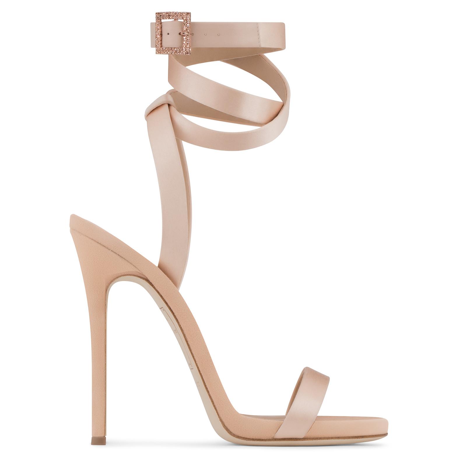 Giuseppe Zanotti - Giuseppe For Jennifer Lopez: Pale Pink Satin Sandal Leslie