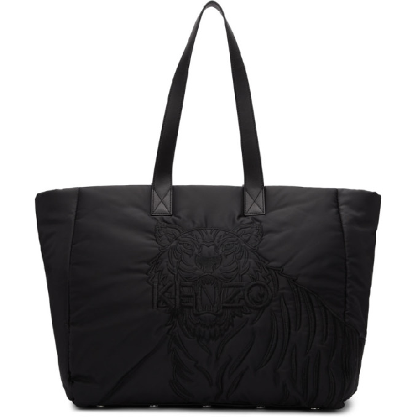 Kenzo Black Large Padded Nylon Tote In 99 Black