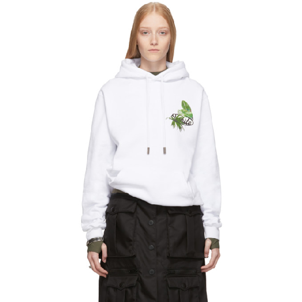Off-white Ssense Exclusive White Racing Arrows Hoodie In White/black