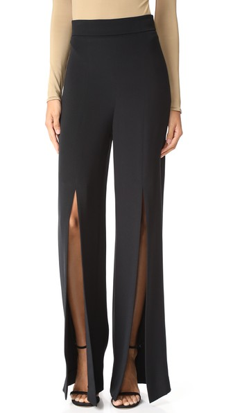 Cushnie Et Ochs Split-front Silk-crepe Wide-leg Pants In Black